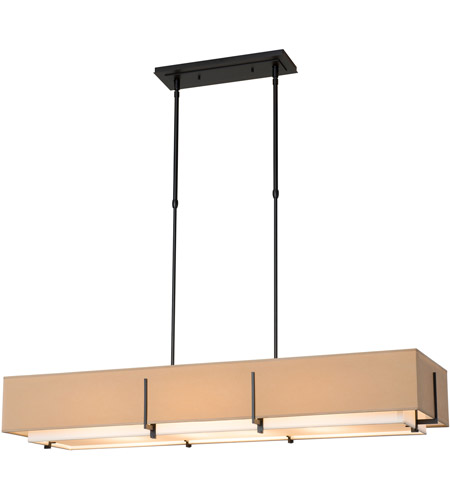 Hubbardton Forge 139640-1876 Exos 4 Light 15 inch Burnished Steel Pendant Ceiling Light, Rectangular