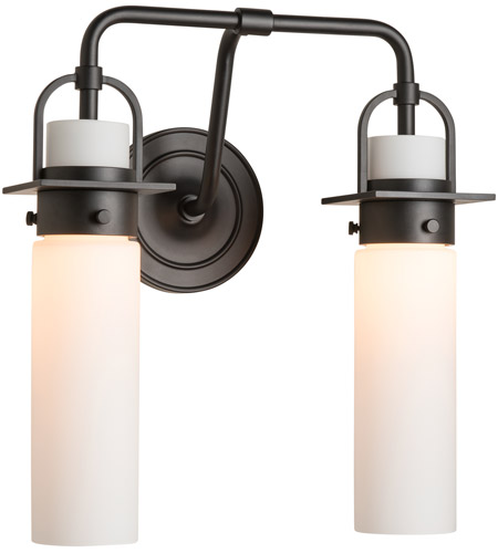 Hubbardton Forge 202171-1000 Castleton 2 Light Matte Black Sconce Wall Light in Opal, Cylinder photo thumbnail
