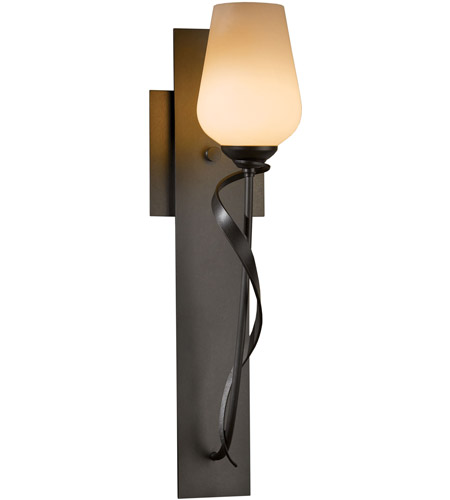 Hubbardton Forge 203030-1013 Flora 1 Light 5 inch Burnished Steel Sconce Wall Light in Stone