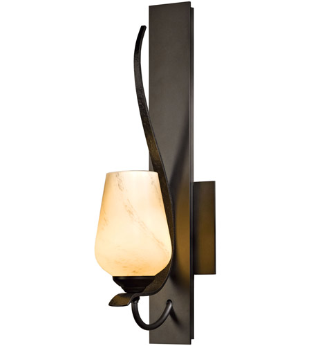 Hubbardton Forge 203035-1015 Flora 1 Light 5 inch Burnished Steel Sconce Wall Light in Pearl