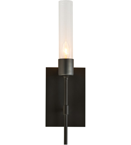 Hubbardton Forge 203330-1002 Vela 1 Light Dark Smoke ADA Sconce Wall Light in Clear photo thumbnail