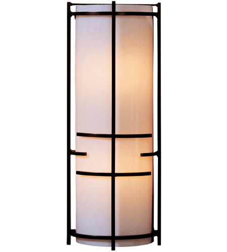 Hubbardton Forge 205910-1029 Extended Bars 1 Light 7 inch Vintage Platinum Sconce Wall Light in Ivory Art, Fluorescent