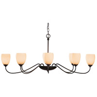 Hubbardton Forge 101308-1007 Oval 8 Light 28 inch Dark Smoke Chandelier Ceiling Light Large