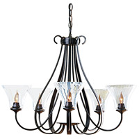 Hubbardton Forge 101454-1005 Sweeping Taper 5 Light 30 inch Natural Iron Chandelier Ceiling Light