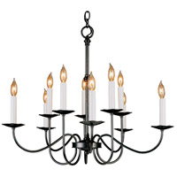 Hubbardton Forge 102100-1005 Simple Lines 10 Light 27 inch Natural Iron Chandelier Ceiling Light