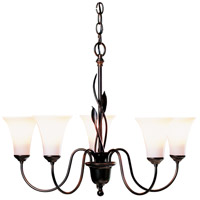 Hubbardton Forge 103052-1000 Forged Leaves 5 Light 27 inch Mahogany Chandelier Ceiling Light