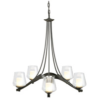 Hubbardton Forge 104115-1002 Ribbon 5 Light 29 inch Dark Smoke Chandelier Ceiling Light