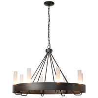 Hubbardton Forge 105040-1011 Banded Ring 8 Light 32 inch Dark Smoke Chandelier Ceiling Light