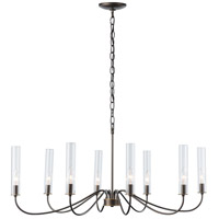 Hubbardton Forge 105050-1002 Grace 8 Light 24 inch Dark Smoke with Brass Chandelier Ceiling Light