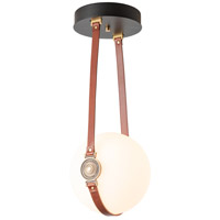Hubbardton Forge 121047-1000 Derby LED 10 inch Brass/ Black/Leather British Brown Semi-Flush Ceiling Light