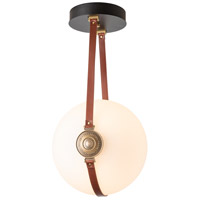 Hubbardton Forge 121049-1000 Derby LED 14 inch Brass/ Black/Leather British Brown Semi-Flush Ceiling Light