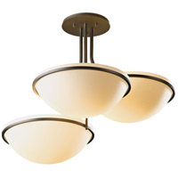 Hubbardton Forge 124255-1008 Moonband 3 Light 20 inch Dark Smoke Semi-Flushmount Ceiling Light Triple Bowl