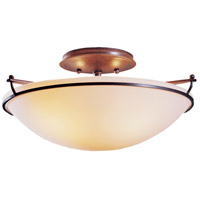 Plain 2 Light 15 inch Burnished Steel Semi-Flushmount Ceiling Light, Small