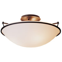 Hubbardton Forge 124304-1004 Plain 3 Light 17 inch Dark Smoke Semi-Flushmount Ceiling Light, Large