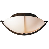 Hubbardton Forge 124550-1000 Compass 2 Light 16 inch Mahogany Flush Mount Ceiling Light in Opal