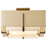 Hubbardton Forge 126507-1327 Exos 2 Light 17 inch Soft Gold Semi-Flush Mount Ceiling Light, Square Small thumb