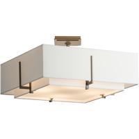 Hubbardton Forge 126510-1100 Exos 4 Light 21 inch Dark Smoke Semi-Flushmount Ceiling Light, Square