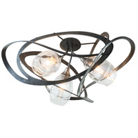 Hubbardton Forge 128720-1002 Nest 3 Light 37 inch Dark Smoke Semi-Flush Ceiling Light