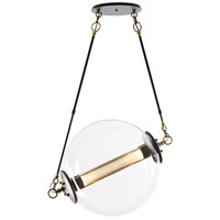 Hubbardton Forge 134405-1005 Otto Sphere 2 Light 28 inch Brass with Black Pendant Ceiling Light