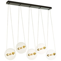 Hubbardton Forge 134409-1000 Otto Sphere 10 Light 16 inch Brass with Black Pendant Ceiling Light