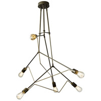 Hubbardton Forge 138930-1005 Divergence 6 Light 55 inch Dark Smoke with Soft Gold Accent Pendant Ceiling Light