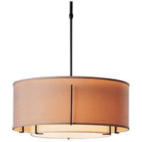 Hubbardton Forge 139605-1588 Exos 3 Light 23 inch Black Pendant Ceiling Light in Natural Linen Inner with Doeskin Suede Outer Incandescent Pipe
