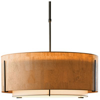 Hubbardton Forge 139610-1568 Exos 3 Light 28 inch Burnished Steel Pendant Ceiling Light in Natural Anna Inner with Terra Suede Outer, Short, Incandescent, Large,Short Pipe photo thumbnail