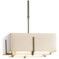 Hubbardton Forge 139625-1204 Exos 2 Light 17 inch Dark Smoke Pendant Ceiling Light Square Small