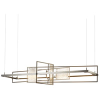 Hubbardton Forge 139753-1014 Summer LED 16 inch Dark Smoke with Vintage Platinum Accent Pendant Ceiling Light