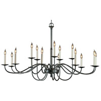 Hubbardton Forge 192044-1005 Simple Lines 15 Light 46 inch Natural Iron Chandelier Ceiling Light