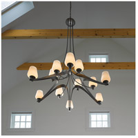 Hubbardton Forge 194156-1014 Ribbon 12 Light 53 inch Dark Smoke Chandelier Ceiling Light Large