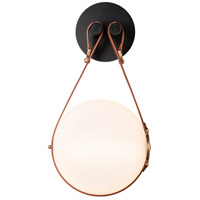 Hubbardton Forge 201030-1000 Derby LED 11 inch Brass/ Black/Leather British Brown ADA Sconce Wall Light