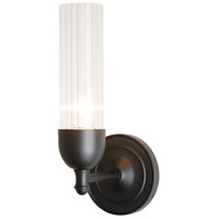 Hubbardton Forge 202123-1004 Fluted 1 Light Matte Black Sconce Wall Light in Clear