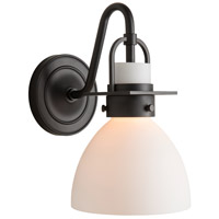 Hubbardton Forge 202160-1000 Reflections - Castleton 1 Light Matte Black Sconce Wall Light in Opal Domed