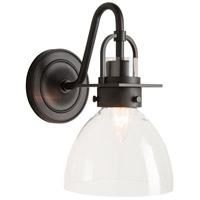 Hubbardton Forge 202160-1003 Castleton 1 Light Matte Black Sconce Wall Light in Clear Domed