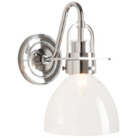 Hubbardton Forge 202160-1004 Castleton 1 Light Polished Chrome Sconce Wall Light in Clear Domed