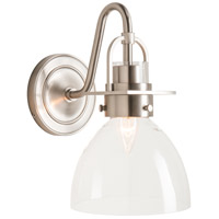 Hubbardton Forge 202160-1005 Reflections - Castleton 1 Light Brushed Nickel Sconce Wall Light in Clear Domed