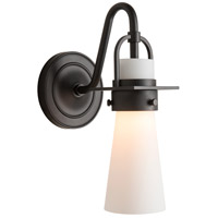 Hubbardton Forge 202161-1000 Reflections - Castleton 1 Light Matte Black Sconce Wall Light in Opal Tapered