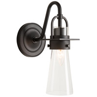 Hubbardton Forge 202161-1003 Castleton 1 Light Matte Black Sconce Wall Light in Clear Tapered