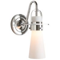Hubbardton Forge 202161-1001 Reflections - Castleton 1 Light Polished Chrome Sconce Wall Light in Opal Tapered
