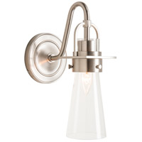 Hubbardton Forge 202161-1005 Reflections - Castleton 1 Light Brushed Nickel Sconce Wall Light in Clear Tapered