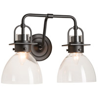 Hubbardton Forge 202169-1003 Castleton 2 Light Matte Black Sconce Wall Light in Clear Domed