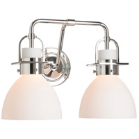 Castleton 2 Light Polished Chrome Sconce Wall Light in Opal, Domed