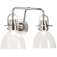 Castleton 2 Light Polished Chrome Sconce Wall Light in Clear, Domed