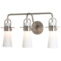 Hubbardton Forge 202174-1002 Castleton 3 Light Brushed Nickel Sconce Wall Light in Opal Tapered