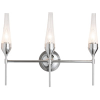 Hubbardton Forge 202190-1000 Reflections - Tulip 3 Light 21 inch Polished Chrome Sconce Wall Light in Clear HF Reflections