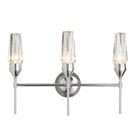 Hubbardton Forge 202191-1000 Reflections - Tulip 3 Light 22 inch Polished Chrome/Crystal Sconce Wall Light HF Reflections