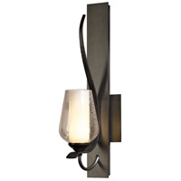 Hubbardton Forge 203035-1010 Flora 1 Light 5 inch Dark Smoke Sconce Wall Light in Opal and Seeded