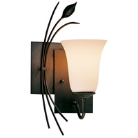 Hubbardton Forge 205122-1006 Forged Leaf 1 Light 7 inch Dark Smoke Sconce Wall Light in Opal Left