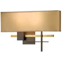 Hubbardton Forge 206350-1005 Cosmo 2 Light 17 inch Bronze with Brass Accent ADA Sconce Wall Light in Doeskin Suede